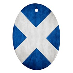 Scotland Flag Surface Texture Color Symbolism Oval Ornament (Two Sides)