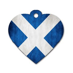 Scotland Flag Surface Texture Color Symbolism Dog Tag Heart (Two Sides)