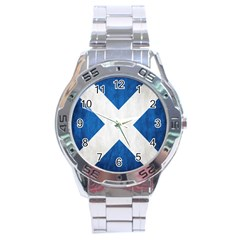 Scotland Flag Surface Texture Color Symbolism Stainless Steel Analogue Watch