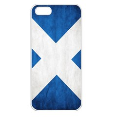 Scotland Flag Surface Texture Color Symbolism Apple iPhone 5 Seamless Case (White)