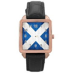 Scotland Flag Surface Texture Color Symbolism Rose Gold Leather Watch