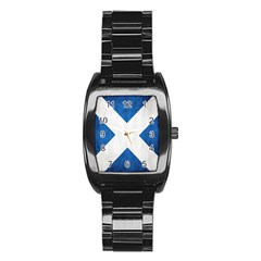 Scotland Flag Surface Texture Color Symbolism Stainless Steel Barrel Watch