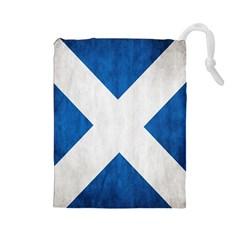 Scotland Flag Surface Texture Color Symbolism Drawstring Pouches (large)