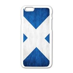 Scotland Flag Surface Texture Color Symbolism Apple iPhone 6/6S White Enamel Case