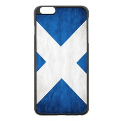 Scotland Flag Surface Texture Color Symbolism Apple iPhone 6 Plus/6S Plus Black Enamel Case