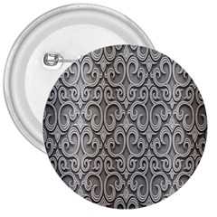 Patterns Wavy Background Texture Metal Silver 3  Buttons