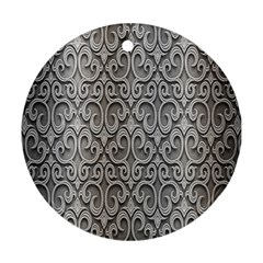 Patterns Wavy Background Texture Metal Silver Ornament (round)