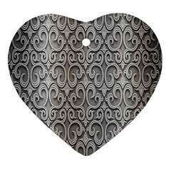 Patterns Wavy Background Texture Metal Silver Ornament (heart)