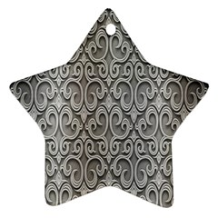 Patterns Wavy Background Texture Metal Silver Ornament (star)