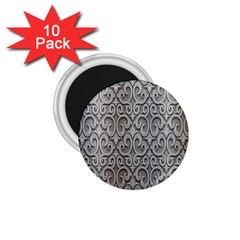 Patterns Wavy Background Texture Metal Silver 1 75  Magnets (10 Pack)