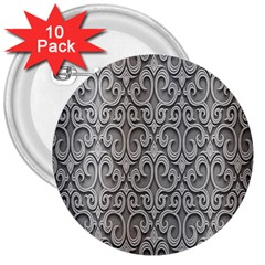 Patterns Wavy Background Texture Metal Silver 3  Buttons (10 pack)