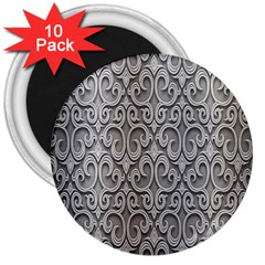 Patterns Wavy Background Texture Metal Silver 3  Magnets (10 pack)