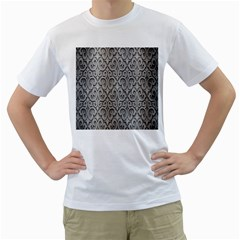 Patterns Wavy Background Texture Metal Silver Men s T-Shirt (White) (Two Sided)