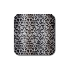 Patterns Wavy Background Texture Metal Silver Rubber Coaster (Square)