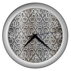 Patterns Wavy Background Texture Metal Silver Wall Clocks (Silver)