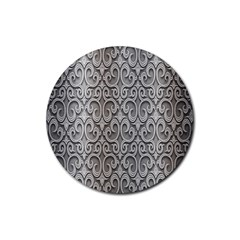 Patterns Wavy Background Texture Metal Silver Rubber Round Coaster (4 pack)