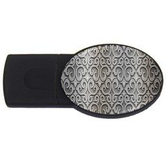 Patterns Wavy Background Texture Metal Silver Usb Flash Drive Oval (2 Gb)