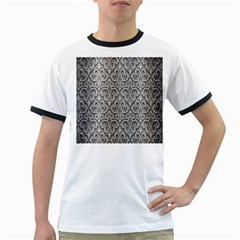 Patterns Wavy Background Texture Metal Silver Ringer T-Shirts