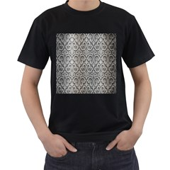 Patterns Wavy Background Texture Metal Silver Men s T-Shirt (Black) (Two Sided)