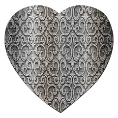 Patterns Wavy Background Texture Metal Silver Jigsaw Puzzle (Heart)