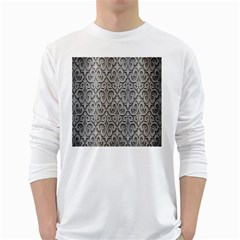 Patterns Wavy Background Texture Metal Silver White Long Sleeve T-Shirts
