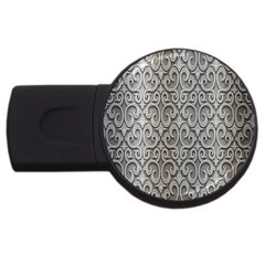 Patterns Wavy Background Texture Metal Silver Usb Flash Drive Round (4 Gb)