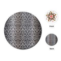 Patterns Wavy Background Texture Metal Silver Playing Cards (Round)