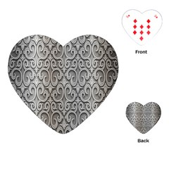 Patterns Wavy Background Texture Metal Silver Playing Cards (heart)