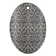 Patterns Wavy Background Texture Metal Silver Oval Ornament (Two Sides)
