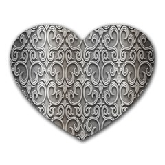 Patterns Wavy Background Texture Metal Silver Heart Mousepads