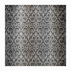 Patterns Wavy Background Texture Metal Silver Medium Glasses Cloth (2-Side)