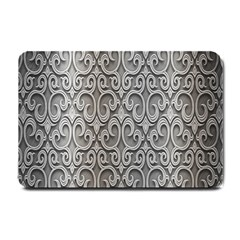Patterns Wavy Background Texture Metal Silver Small Doormat