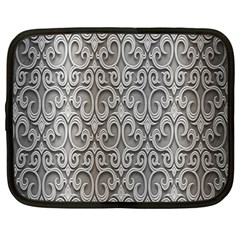 Patterns Wavy Background Texture Metal Silver Netbook Case (Large)
