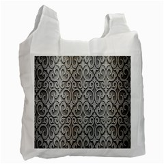 Patterns Wavy Background Texture Metal Silver Recycle Bag (two Side)