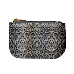 Patterns Wavy Background Texture Metal Silver Mini Coin Purses