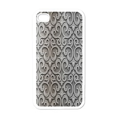 Patterns Wavy Background Texture Metal Silver Apple iPhone 4 Case (White)