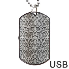 Patterns Wavy Background Texture Metal Silver Dog Tag USB Flash (Two Sides)