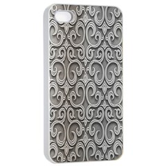 Patterns Wavy Background Texture Metal Silver Apple iPhone 4/4s Seamless Case (White)