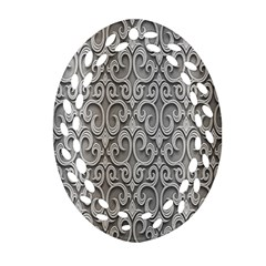 Patterns Wavy Background Texture Metal Silver Oval Filigree Ornament (Two Sides)