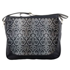 Patterns Wavy Background Texture Metal Silver Messenger Bags