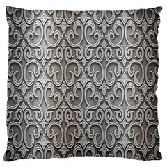 Patterns Wavy Background Texture Metal Silver Large Cushion Case (one Side)