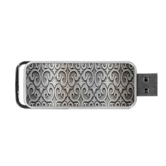 Patterns Wavy Background Texture Metal Silver Portable USB Flash (One Side)