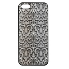 Patterns Wavy Background Texture Metal Silver Apple iPhone 5 Seamless Case (Black)