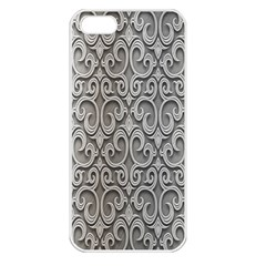 Patterns Wavy Background Texture Metal Silver Apple Iphone 5 Seamless Case (white)