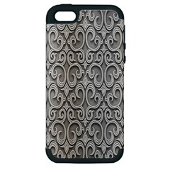 Patterns Wavy Background Texture Metal Silver Apple iPhone 5 Hardshell Case (PC+Silicone)
