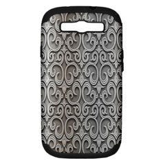 Patterns Wavy Background Texture Metal Silver Samsung Galaxy S III Hardshell Case (PC+Silicone)