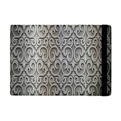 Patterns Wavy Background Texture Metal Silver Apple Ipad Mini Flip Case