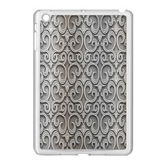 Patterns Wavy Background Texture Metal Silver Apple iPad Mini Case (White)