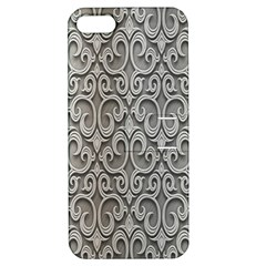 Patterns Wavy Background Texture Metal Silver Apple iPhone 5 Hardshell Case with Stand