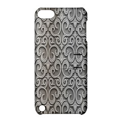 Patterns Wavy Background Texture Metal Silver Apple iPod Touch 5 Hardshell Case with Stand